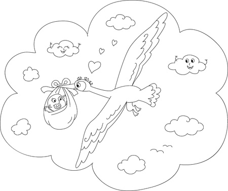 Cute stork flying in the sky with newborn baby  Coloring cartoon vector Stock Vector - 13482895