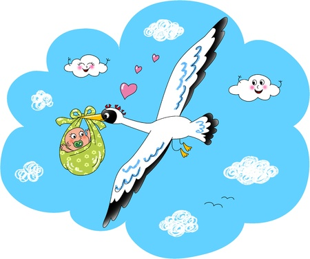 Cute stork flying in the sky with newborn baby  Digital illustration Stock Illustration - 13545090