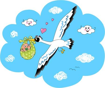 Cute stork flying in the sky with newborn baby  Digital illustration  illustration