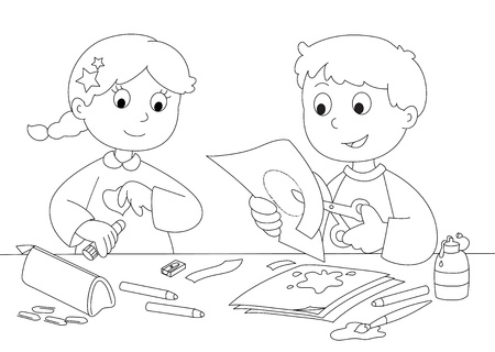 Boy and girl playing with paper, brushes, glue and pencils  Coloring  Illustration