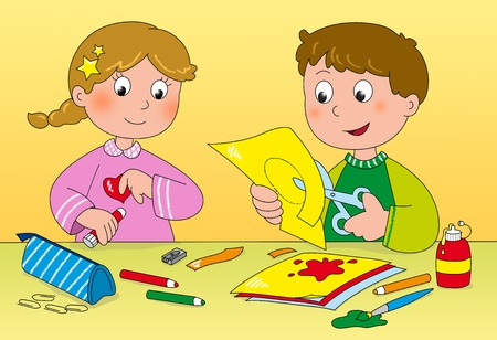 Boy and girl playing with paper, brushes, glue and pencils
