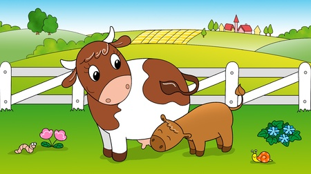 pastures: Cute cow feeding calf in the countryside  Digital illustration for children