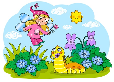 children caterpillar: Flying fairy with wand and cute baby caterpillar  Digital illustration for children