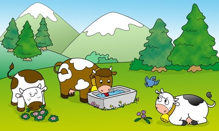 Three cute cows at the mountains  Digital illustration for children  illustration