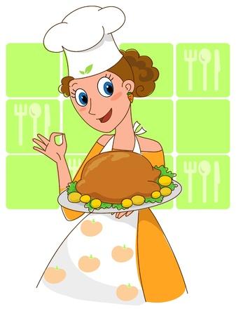 chef caricatura: Muchacha bonita la celebración de un pollo asado apetecible