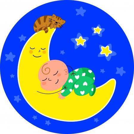 cute baby sleeping on the moon with little cat  Cartoon illustration