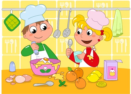 Boy and girl cooking in a kitchen full of ingredients  Cartoon illustration for children  Ilustração