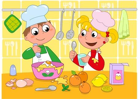 cocina caricatura: Ni�o y ni�a de cocina en una cocina llena de ingredientes Ilustraci�n de dibujos animados para los ni�os