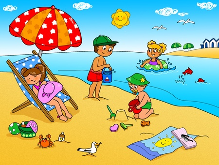 sunbathe: Summer holidays, children playing with the sand at the beach