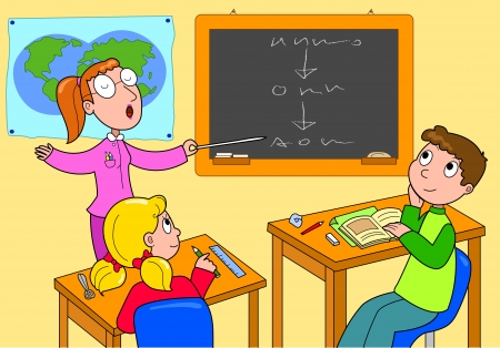 classroom chalkboard: Teacher and pupils in the classroom Cartoon illustration for kids