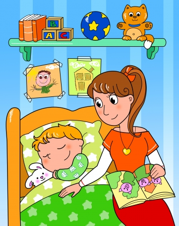 child bedroom: Cute child sleeping in bed with mom, digital illustration