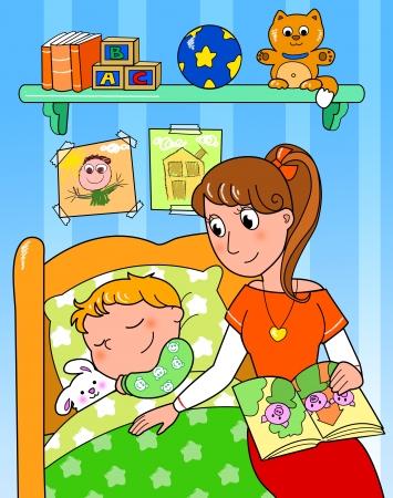 sleeping room: Cute child sleeping in bed with mom, digital illustration