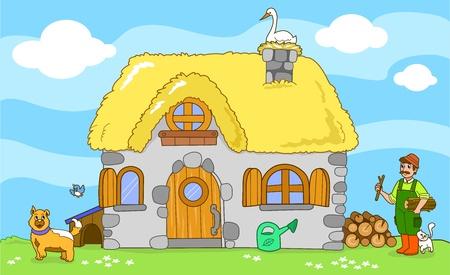 Oude boerderij met boer en schattige dieren een kat, een hond, een kleine vogel en een ooievaar Cartoon vector voor kinderen Vector Illustratie