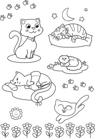 cats playing: Coloring black and white illustration  five different cute cats for children