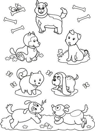 dog run: Coloring black and white illustration  seven different cute dogs for children