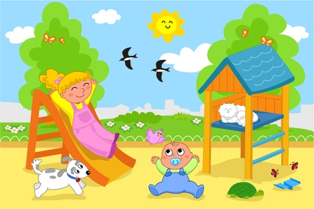 Playground  cartoon illustration of a young girl and a cute toddler playing together at the park