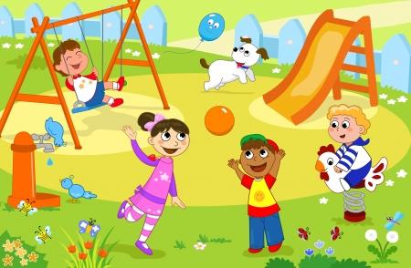divertirsi: Quattro bambini felici che giocano insieme al parco giochi