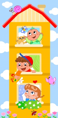 Funny cartoon house  in each window a cute smiling child  Vettoriali