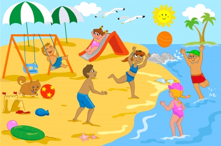 sunny beach: Group of kids happily together at the seaside  Some are playing with a ball and some at the playground