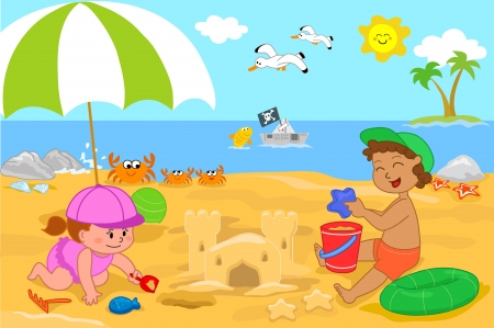 Vacation at the seaside  a little girl and a boy making a sand castle on the beach   Vector