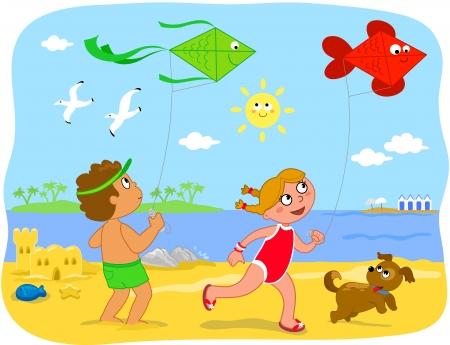 Due bambini sveglio del fumetto sono in esecuzione con aquiloni sulla spiaggia, illustrazione, vacanza estiva per i bambini Archivio Fotografico - 14233962