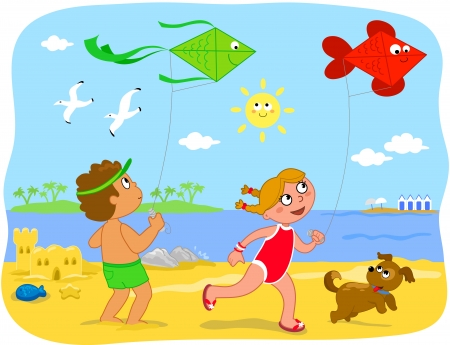 Two cute cartoon children are running with kites on the beach  Summer holiday illustration for kids  Vector