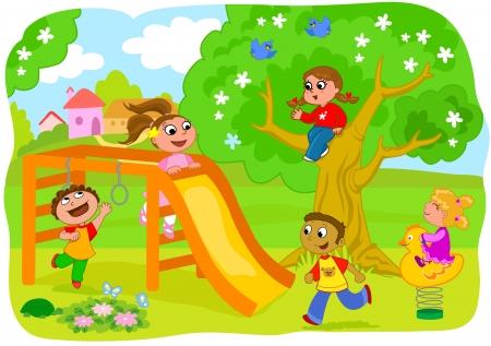 bambini che giocano: Parco giochi per bambini nei cinque paesi felici che giocano insieme Vettoriali