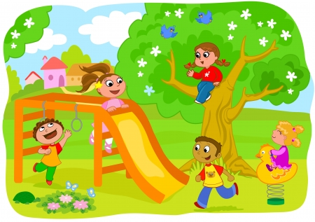 kids playing outside: Playground in the country  five happy children playing together   Illustration