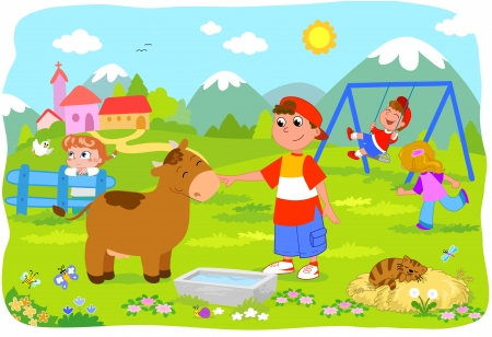 Four kids playing on holidays at the mountains Vector