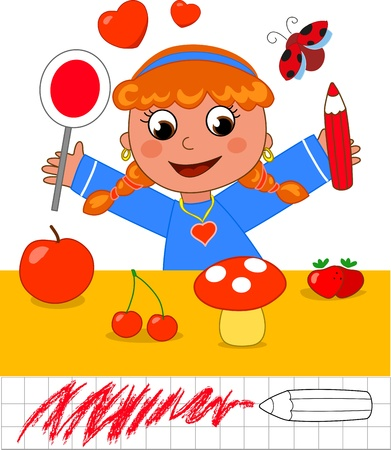 Color educational game for children  girl with red objects Vector