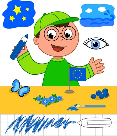 Cute cartoon boy showing blue objects  sky, sea, eye, butterfly, forget-me-not flower, blueberries and european flag  Educational game for little children Vector