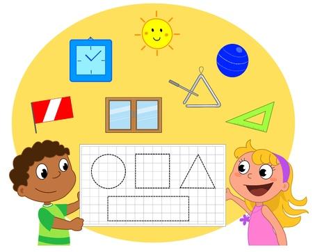 rekensommen: Geometrie spel over vormen cirkel, driehoek, rechthoek en vierkant Stock Illustratie