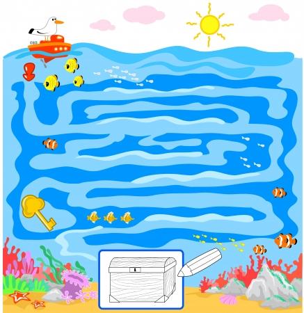 doolhof: Kinderen doolhof spel te vinden de weg naar de Tresure het nemen van de gouden sleutel Stock Illustratie