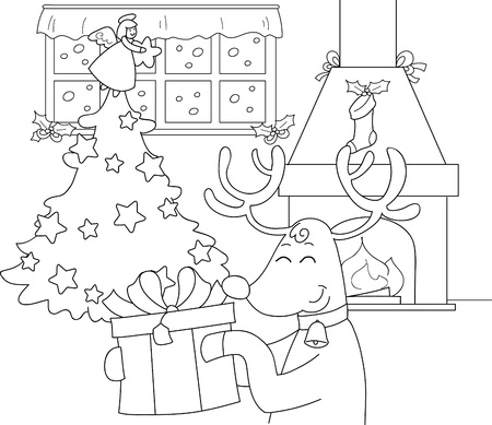 christmas room: Reindeer with big present in a room decorated for Christmas  Coloring illustration for children