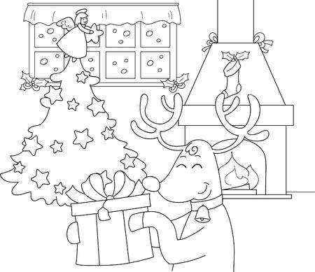 camino natale: Renna con il grande presente in una sala decorata per Natale Illustrazione da colorare per i bambini