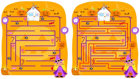 solved: Solved halloween maze game, collect candies an go home but beware of spiders