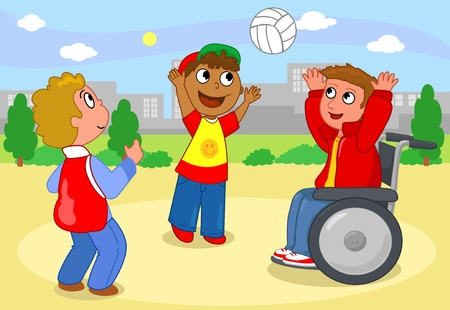 Two children playing volleyball with a boy on wheelchair