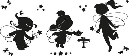 fee zauberstab: Drei schwarze Silhouetten von niedlichen Feen fliegen mit Zauberst�be Illustration