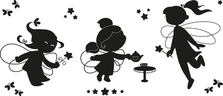 Three black silhouettes of cute fairies flying with wands