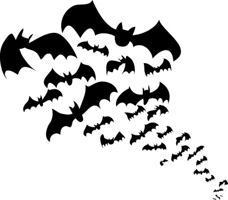 at bat: Flying bats flock black silhouettes for Halloween