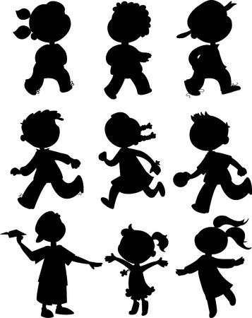 kind silhouet: Kinderen zwarte silhouetten van jongen en meisjes lopen, rennen en spelen