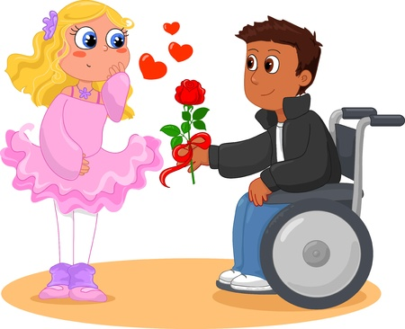 Romantic scene with boy on wheelchair and pretty girl