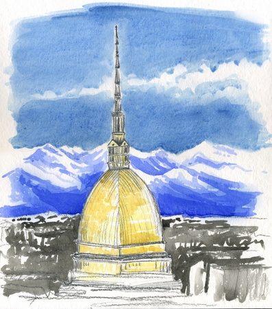 mole: Hand painted watercolor of  Mole Antonelliana, tower in Turin, Italy Stock Photo