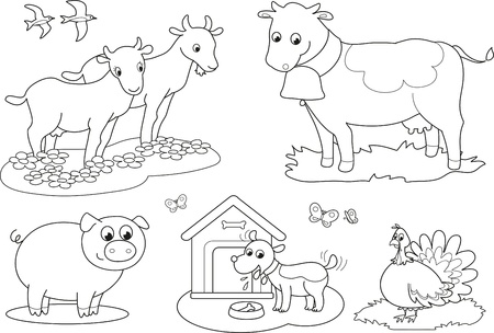 black and white farm: Set of coloring farm animals for children  goat, cow, pig, turkey, dog and swallows