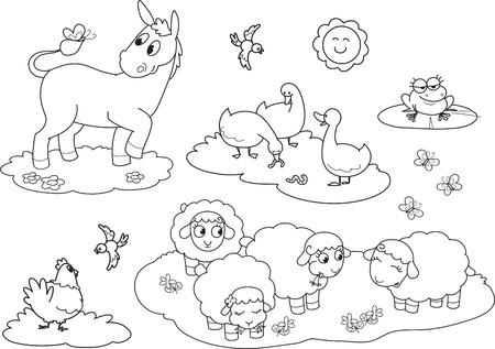 Set of coloring farm animals for children donkey goose hen sheeps and frog Vector