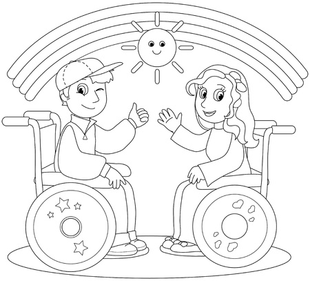 Coloring illustration of smiling boy and girl on wheelchair
