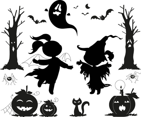 boom halloween: Halloween zwarte icon set van meisjes met heks maskers, griezelige bomen, jack-o-lantaarns, zwarte katten, spinnen, vleermuizen en een spook Stock Illustratie
