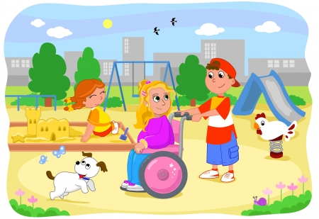 personas discapacitadas: Bastante chica rubia en silla de ruedas en el patio de recreo con sus amigos Vectores