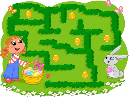 maze puzzle: Game for little children  How many Easter eggs can the girl collect before going to the bunny  Illustration