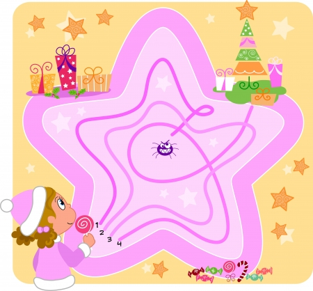 Game for little kids  Find the right way to reach the Christmas tree Vector